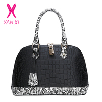 YANXI New 2018 Autumn Fashion Women PU Leather Shoulder Bag Ladies Casual Tote Bag Brand Shell Woman Handbag Snake BAG