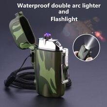 Mini lanterna e carregamento usb duplo arco cigarro isqueiro à prova de vento à prova dwindproof água plasma mais leve para esportes acampamento ao ar livre
