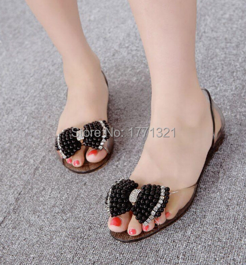 24462de46a5ee Melissa Jelly shoes with black and white pearl crystal rhinestone bow spell  color flat sandals open toe shoes Women flat sandals