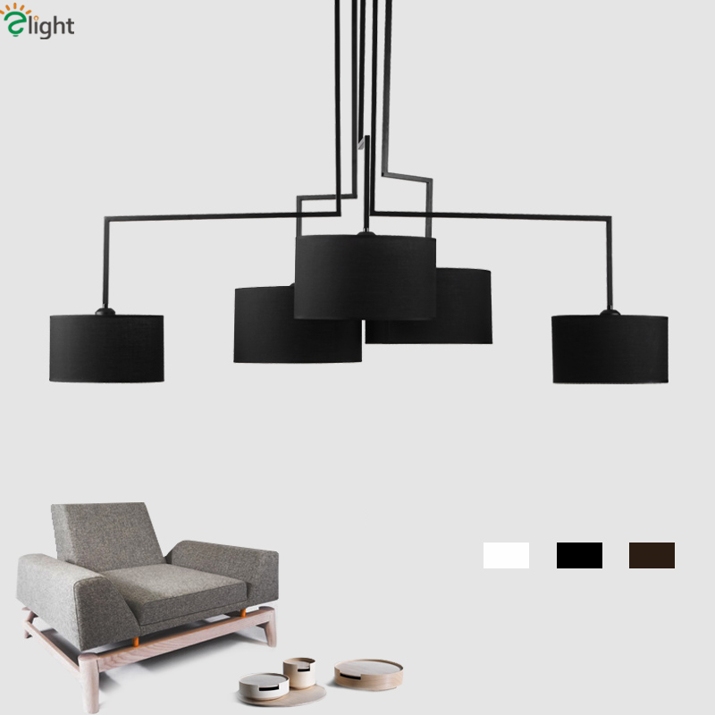 Modern Minimalism Led Chandelier Living Room Irregular Lustre E27 Fabric Shades Chandelier Lighting Indoor Light Fixtures