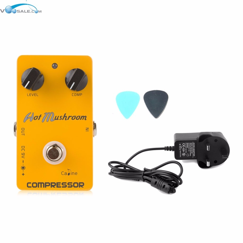 Caline CP-10 Hot Mushroom Compressor Digital Guitar Effects Pedal+AC100V-240V to DC9V/1A Adapter Use Have AU UK US EU Plug 100pcs us eu uk au plug ac line 1 5m dc line 1 2m ac100 240v to dc 24v 1a 24w power adapter 24v1a ac adapter