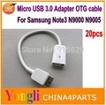 20pcs  Note 3 N9000 OTG Cable Micro USB 3.0 9 pin Host USB Cable For Samsung Galaxy S5 i9600 Note3 N9000 N9005 Adapter OTG