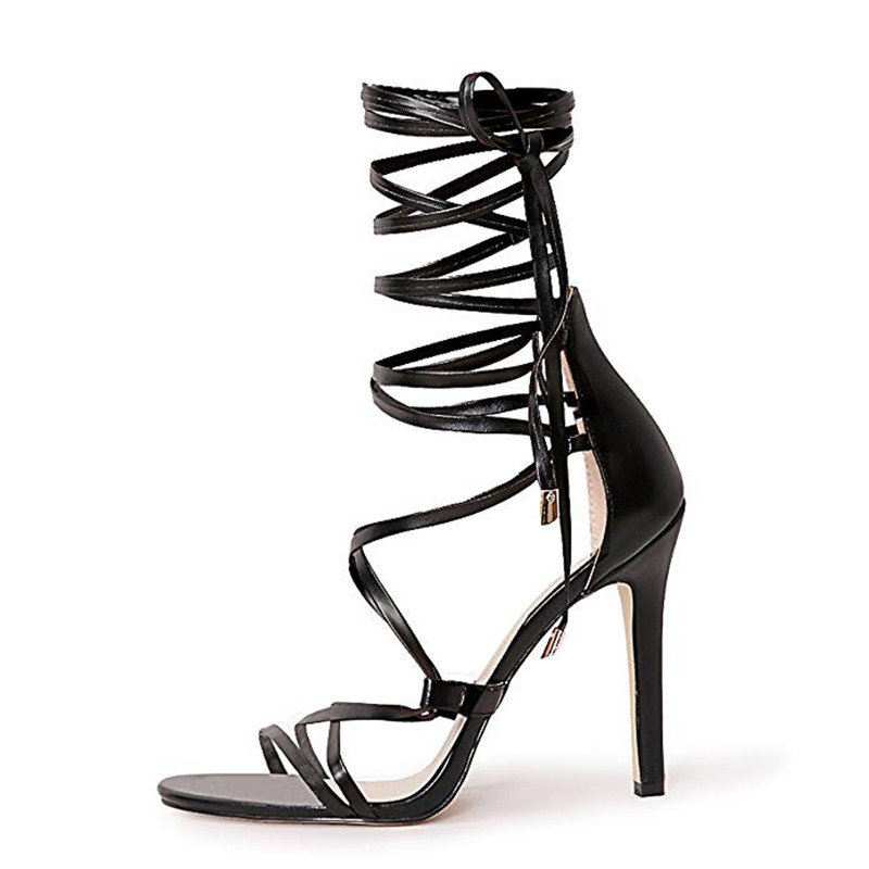 ARQA Summer 2019 Cross-strap open-toed lace-up slim high-heeled sexy simple womens sandals European and American shoesARQA Summer 2019 Cross-strap open-toed lace-up slim high-heeled sexy simple womens sandals European and American shoes