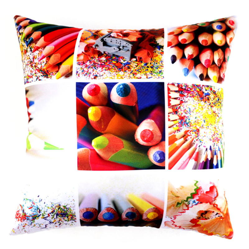 1PC 45*45cm Lettices Colorful Crayons Printing pillowcase slip home decal Cushion case Throw Pillow cover on sale