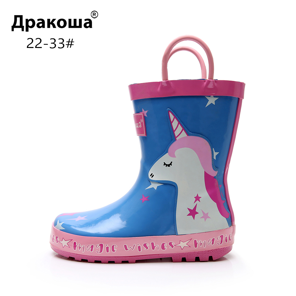 Apakowa Boys Girls Cartoon Dinosaur Unicorn Rubber Rainboots Baby Little Kids Water Shoes Waterproof Non-slip Ankle Rain Boots