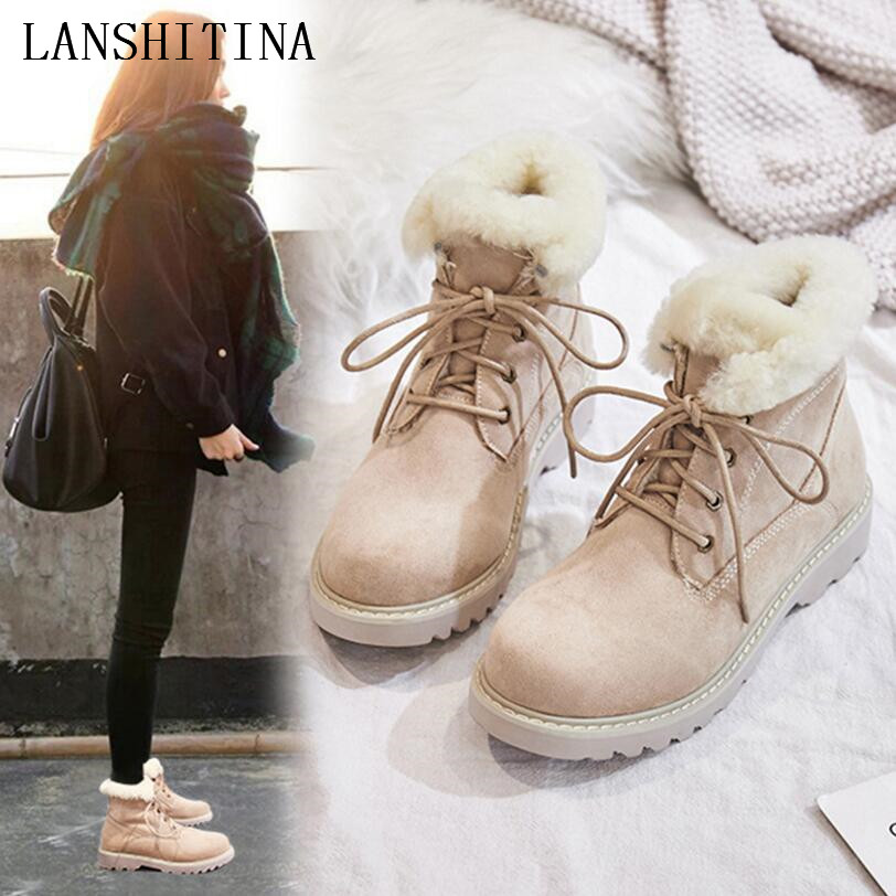 Classic Women Snow Boots Winter Boots Women Lace-Up Flat Heel Ankle Boots for Women Shoes Warm Fur Plush Shoes zapatillas mujer