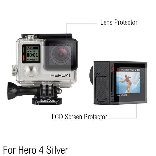 Ultra Clear LCD Filme Protetor de Protetor de Tela + Lente De Vidro Habitação À Prova D' Água Para GoPro hero 4/3 + Prata