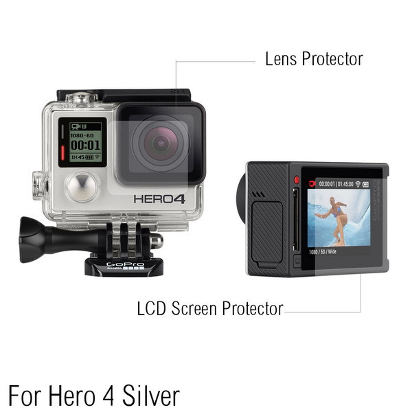 Ultra Clear LCD Screen Protector + Waterproof Housing Glass Lens Protector Film For GoPro hero 4/3+ Silver