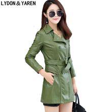 new women Korean coat fashion leather jacket long paragraph Slim , design suit jacket casual women leather coat belt