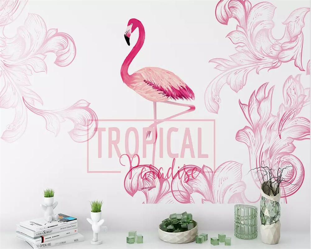 Beibehang Nordic Hand Painted Flamingo Lukisan Dinding Wallpaper