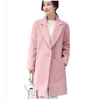 2016 New Winter Wool Coat Korean Winter Long Women Woolen Coat Loose Pink Wool Coat Female plus size Jackets Overcoat AE1744