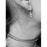 Tardoo Clip On Earrings For Women 925 Sterling Silver Cross Love Shape Punk Ear Cuffs Fine