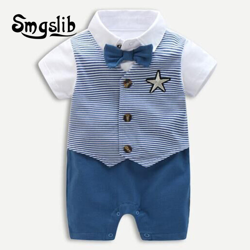 Baby boy summer clothes Cartoon penguin animal costume jumpsuits baby gentleman clothes baby Girls toddler   romper   overall