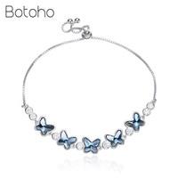 2018 New Crystals 925 Sterling Silver Flower butterfly Bracelet for Women Blue Austrian Rhinestone Paved Elegant Fashion Jewelry