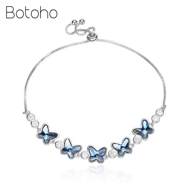2018 nouveaux cristaux 925 en argent Sterling fleur papillon Bracelet pour les femmes bleu autrichien strass pavé élégant bijoux de mode