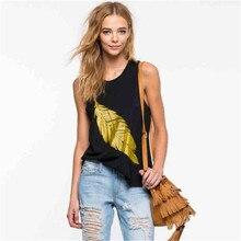 купить Womens Summer Tshirts Leaf Print Crew Neck Sleeveless Female Tanks Fashion Style Casual Apparel по цене 804.37 рублей