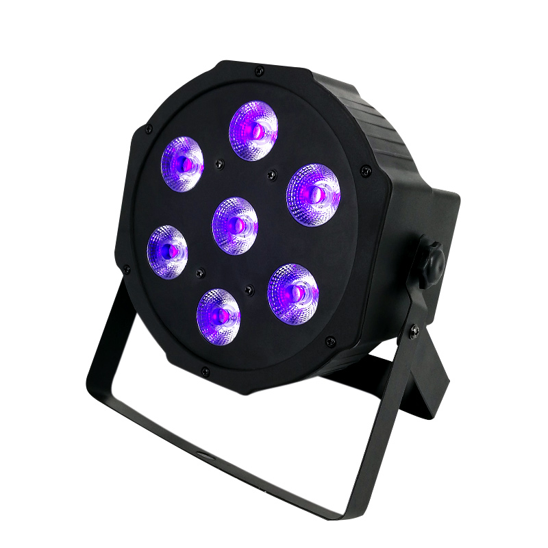 SHEDHS LED Flat Par 7x3W Violet Color Lighting UV With DMX512 for Disco DJ Party Decoration Purple PAR LED Effect Lights