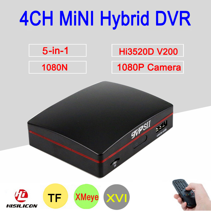 1080P 2MP Surveillance Camera XMeye Hi3520D 4 Channel 4CH 1080N 25fps 6 in 1 Hybrid Mini NVR TVI CVI AHD CCTV DVR Free Shipping silver panel hi3521a 5 in 1 xmeye 4 channel 4ch 1080p 2mp 25fps realtime hybrid coaxial nvr tvi cvi ahd cctv dvr free shipping