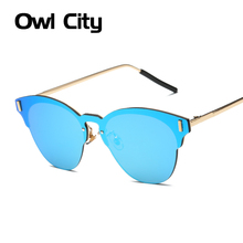 Newest Rimless Sunglasses Women Cat eye Brand Designer Fashion Alloy Frame Mirror Flat Panel Lens Summer Shades UV400 Eyewear