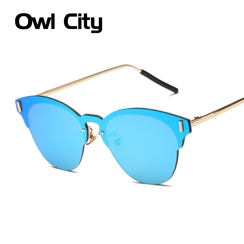 Rimless Sunglasses Women Cat eye Brand Designer Fashion Alloy Frame Mirror Flat Panel Lens Summer Shades UV400 Eyewear