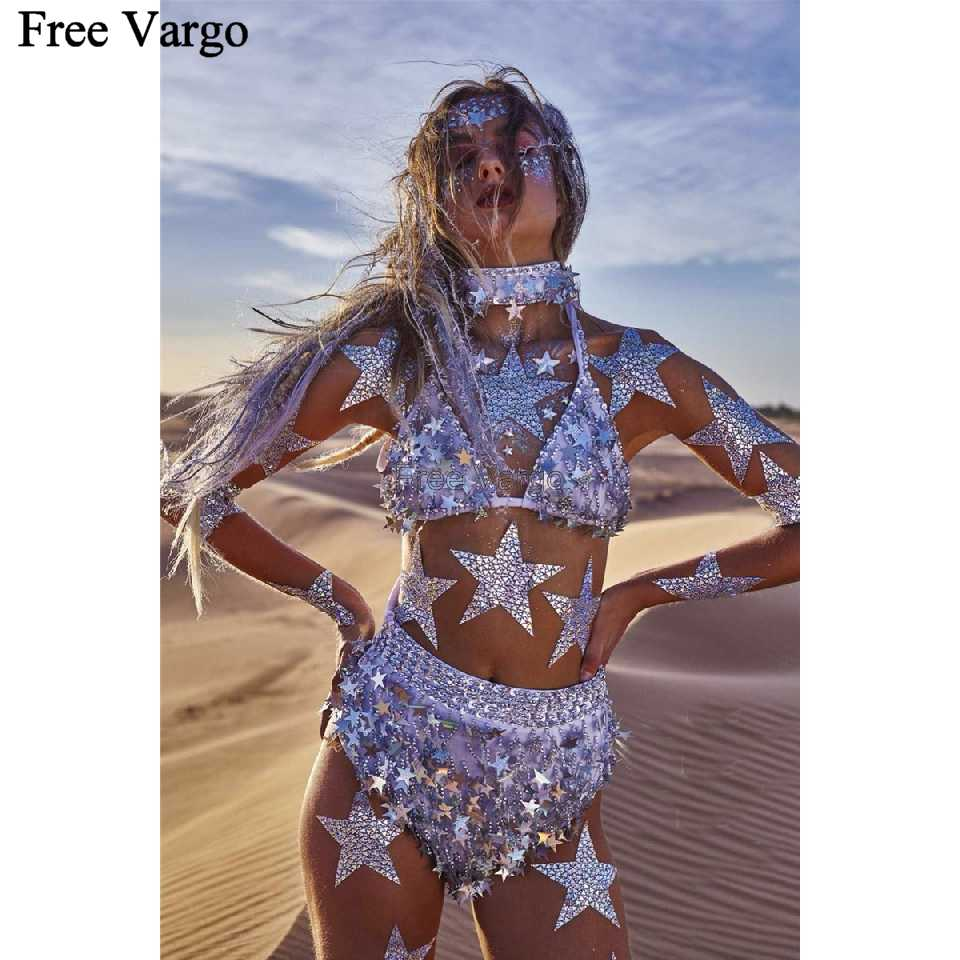 ... Holographic Burning Man Rave EDM Music Festival Star Seq Outfits Clothes  Gear Bodysuit Dance Wear Women ... 823c138186de