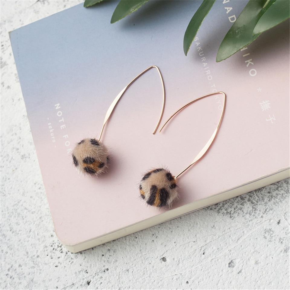 Fashion plush hair ball earrings for women Long leopard pompom pendant drop earrings fine jewelry 2018 new earring bijoux gifts