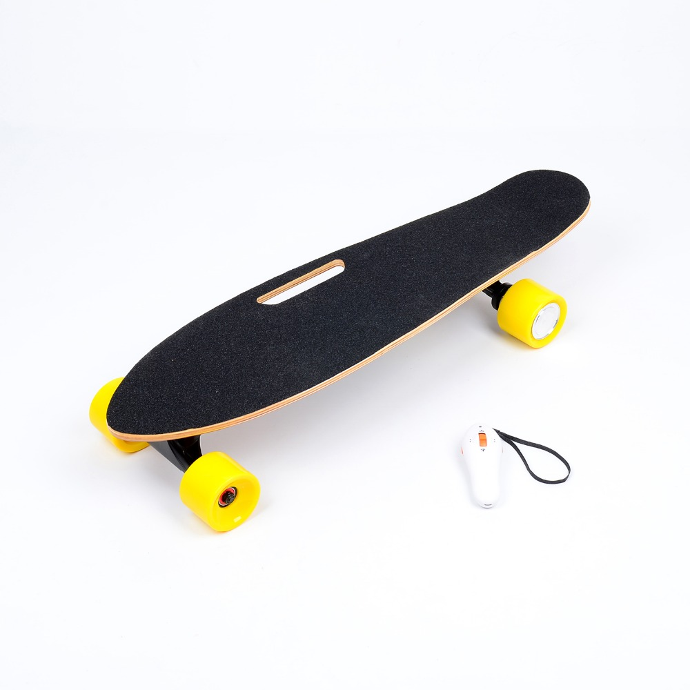 Electric skateboard 4 wheels single drive brushless motor remote control portable wood drifting skateboard 4 wheel electric skateboard single driver motor small fish plate wireless remote control longboard waveboard 15km h 120kg