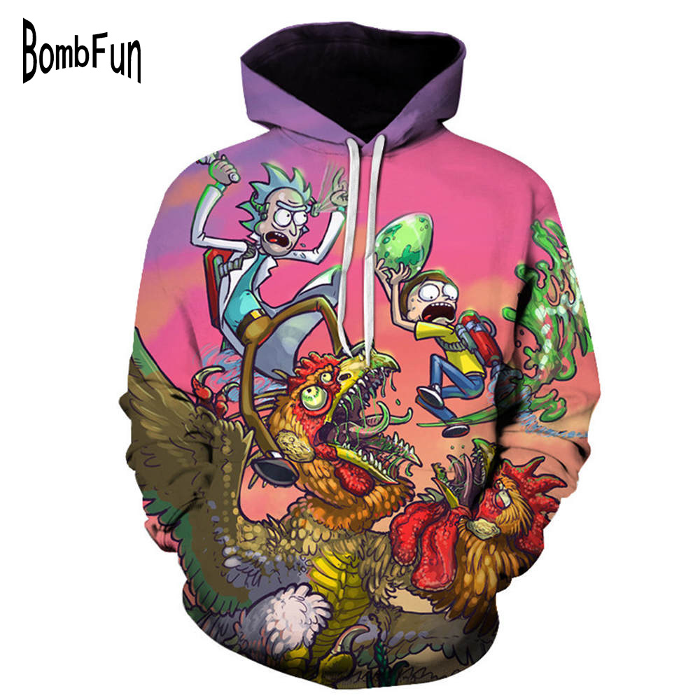 BombFun Cartoon Rick and Morty Hoodies Sweatshirts 3d Print Men&Women Sweatshirt Couple Casual Hooded Pullovers Tops Outwears