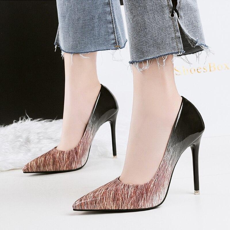 azul Zapato Color Escarpins amarillo Tacón Blanco Negro marrón Brillante Zapatos {d Negro blanco Alta Henlu} amp; rojo Oficina Bombas Mujeres Alto Gradiente De Y Tn7IgHq