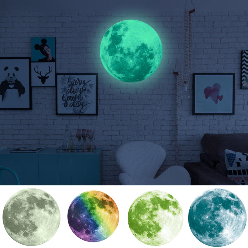30cm Moon Glow in the Dark Luminous Wall Stickers For Kids Rooms Home Decor Adesivo De Parede Self Adhesive Stickers Muraux S30