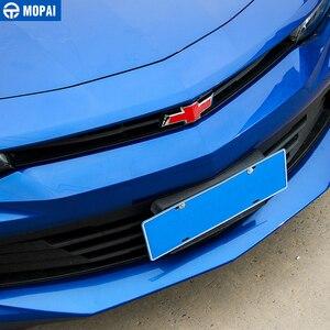 Image 2 - Наклейка MOPAI из углеродного волокна, наклейка на переднюю решетку радиатора, заднюю наклейку с крестом, эмблема, наклейка для Chevrolet Camaro 2017, автомобильные аксессуары