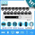 Interior de segurança CCTV DVR com 1 tb de disco rígido Night vision Camera Kit de 16 canais SK-014