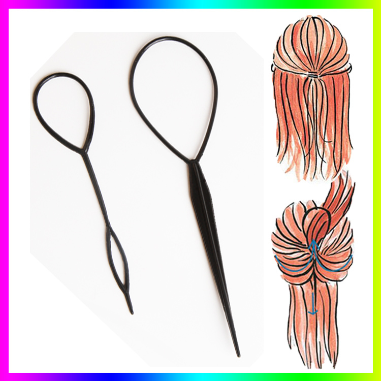 Hot Sale Chic Magic Topsy Tail Hair Braid Ponytail Styling Maker Clip Tool Black 2pcs Drop Shipping