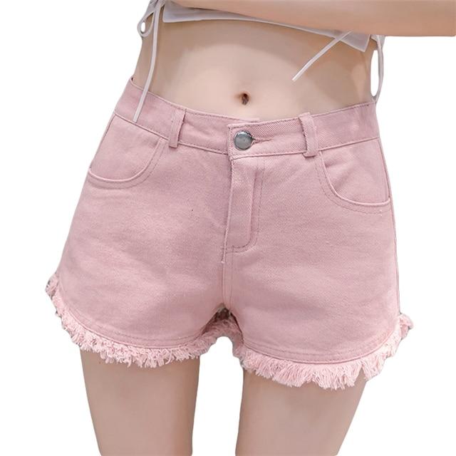 f153d74bb58763 € 23.94 |2018 New Summer Filles Taille Haute Denim Shorts Femmes Sexy Mini  Short Déchiré Shorty Rose Vert Blanc Noir Couleurs De Bonbons CM2553 ...
