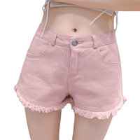 2018 New Summer Girls High Waist Denim Shorts Women Sexy Mini Shorts Ripped Hotpants Pink Green