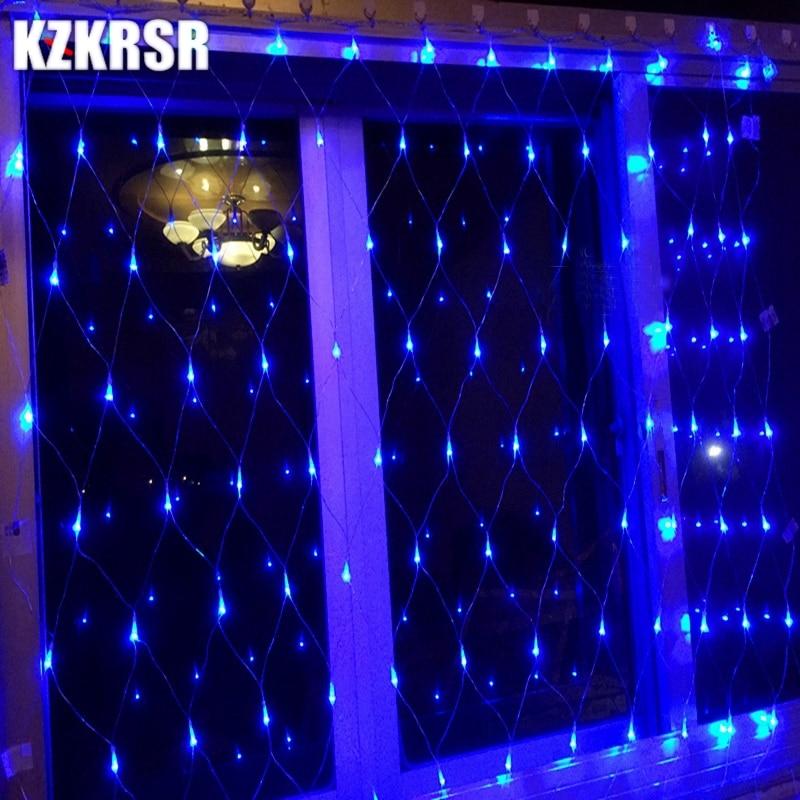 KZKRSR Christmas Garlands LED String 2m*3m Net Mesh Lights Fairy Xmas Party Garden Wedding Decoration Curtain Lights 110V / 220V цена