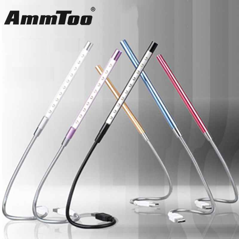 NEW Metal Material USB LED Light Lamp 10LEDs Flexible Book Reading Lights For Notebook Laptop PC Computer 6 Colors(China)