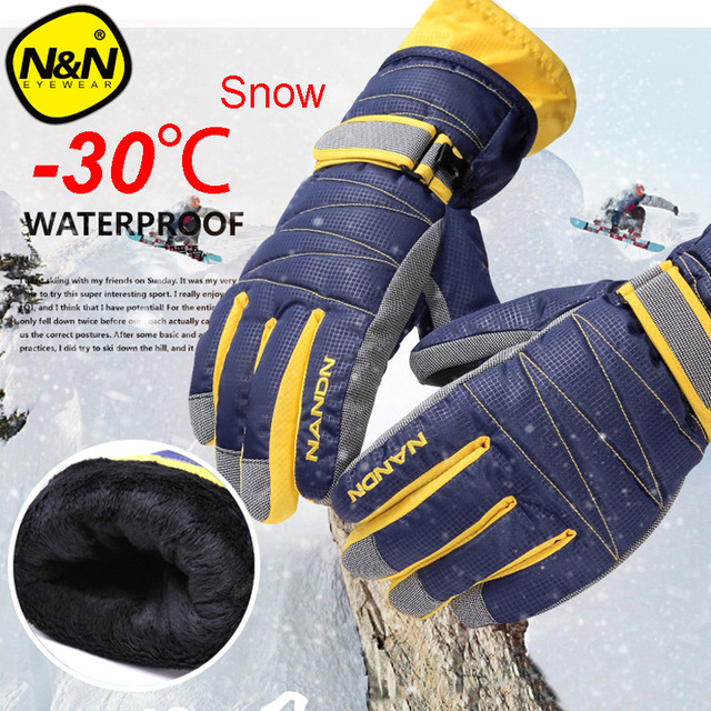 NANDN Winter Warm Mountain Snowboard Ski Gloves Men Women Cold Snow Skiing Mittens Waterproof Snowmobile Handschoemen Air