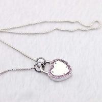Authentic 925 Sterling Silver Khóa Lời Hứa Của Bạn Lady Necklace Charms với Long Lanh Cho Phụ Nữ Thanh Lịch Jewelry Full của Tình Yêu Quà Tặng