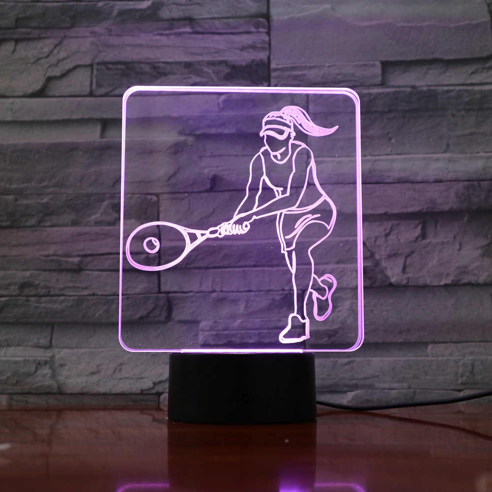 Tennis 3D Optical Illusion Lamp LED Table Desk Light Color Changeable nightlamp Touch Switch Bulbing Children Veilleuse Lampara