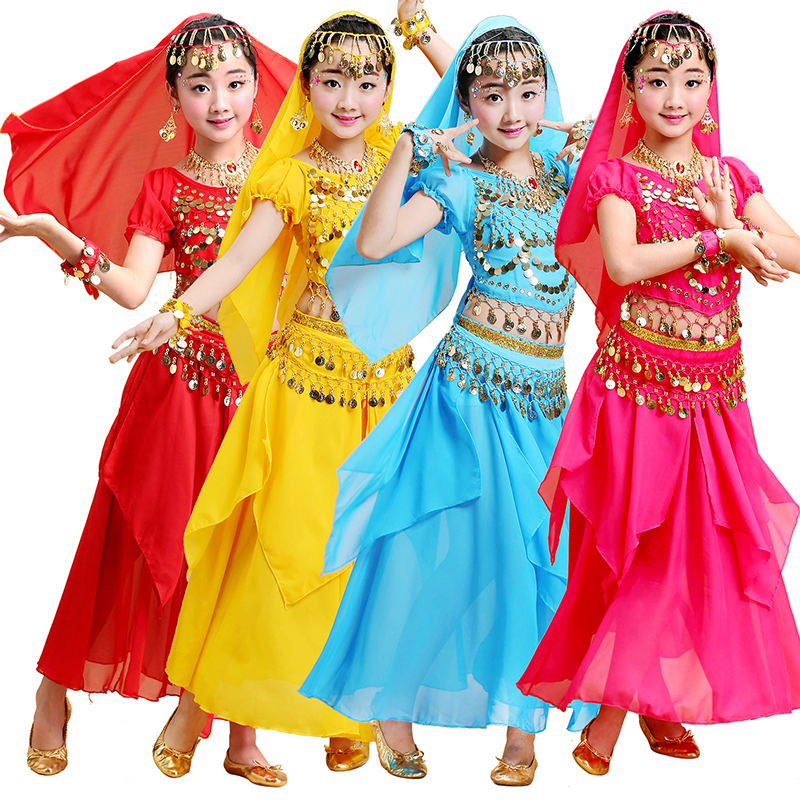 Girls <font><b>Bollywood</b></font> Dance Costume Set Kids Belly Dance Indian Sari Children Chiffon Outfit Halloween <font><b>Top</b></font> Belt Skirt Veil Headpiece image