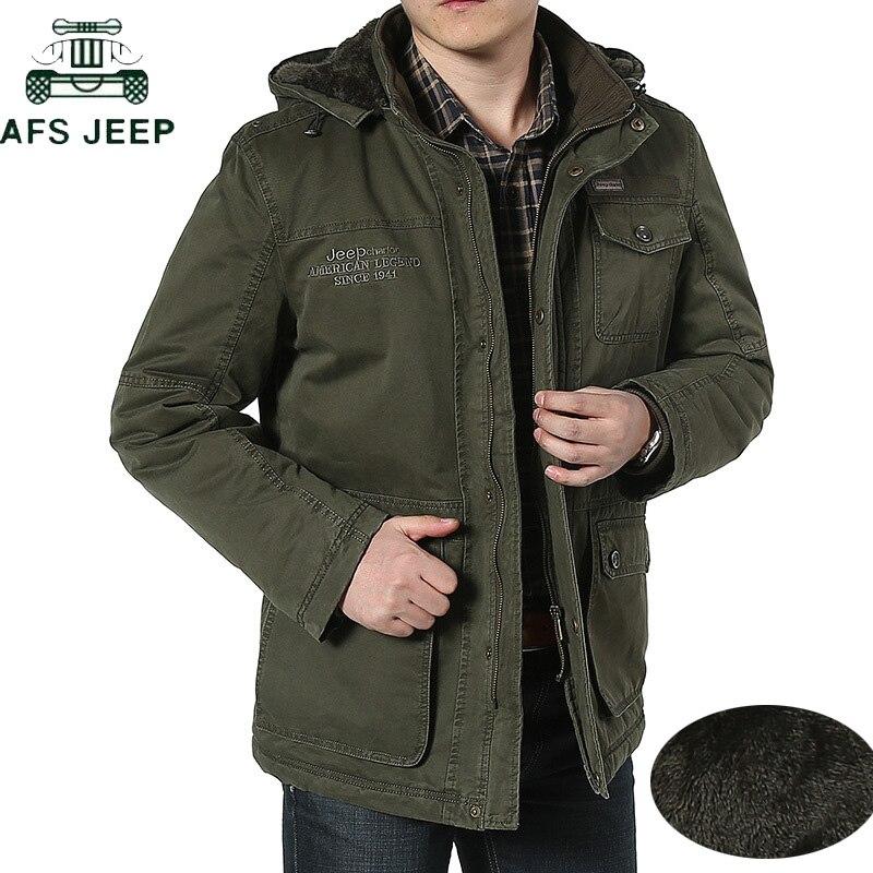AFS JEEP Plus Size 7XL 8XL Winter Jacket Men Cotton Cashmere Parkas Men Casual Multi-pockets Hooded Collar Windbreaker Parkas