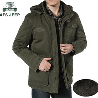 AFS JEEP Plus Size 7XL 8XL Winter Jacket Men Cotton Cashmere Parkas men Casual Multi pockets Hooded Collar Windbreaker Parkas