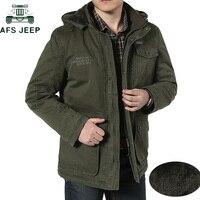 AFS JEEP Plus Size 7XL 8XL Winter Jacket Men Cotton Cashmere Parkas men Casual Multi pockets Hooded Collar Windbreaker Parkas