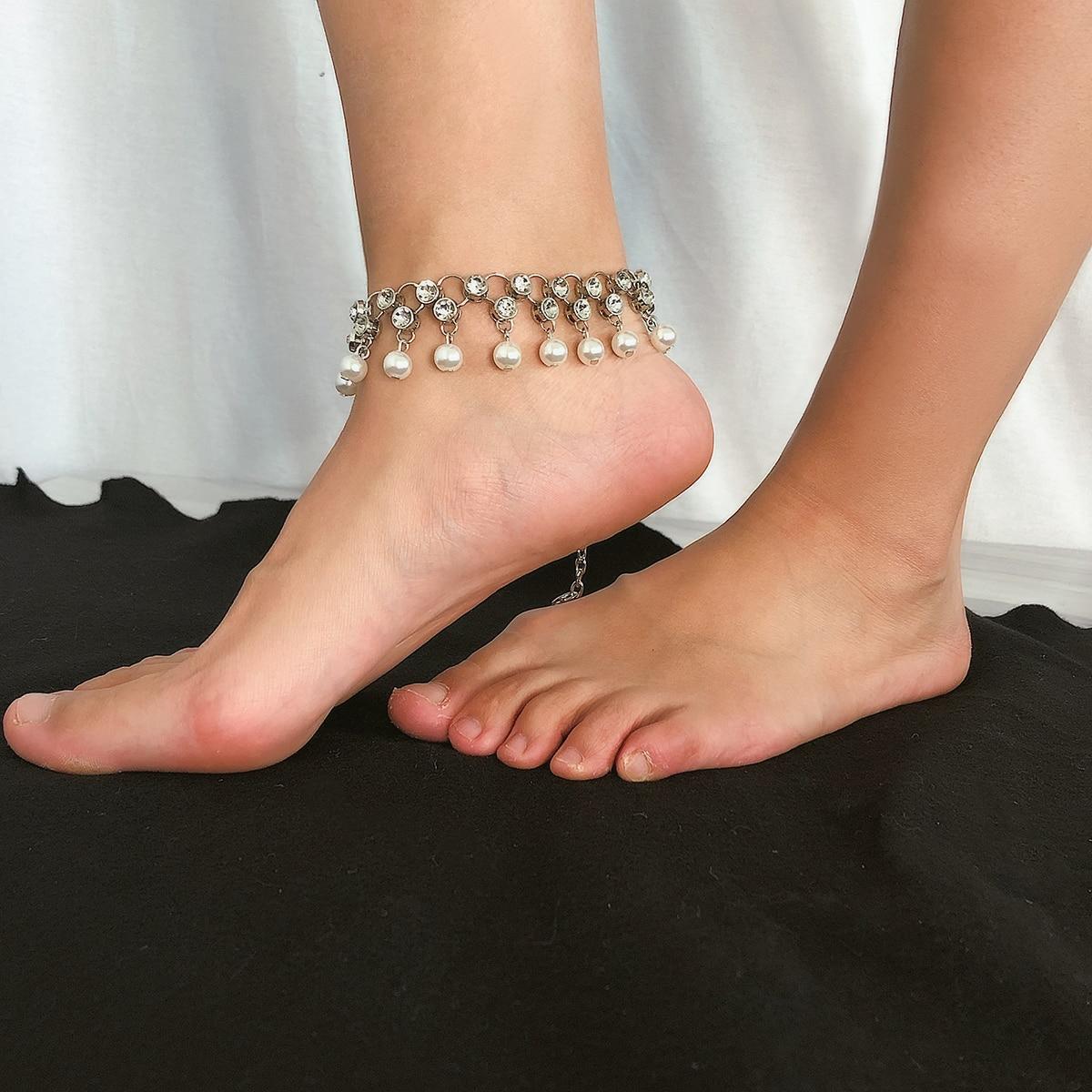 Ingemark Sweet Imitation Pearls Tassel Anklets Bracelet Women Barefoot Sandals Korean Luxury Shiny Rhinestone Ankle Foot Jewelry in Anklets from Jewelry Accessories