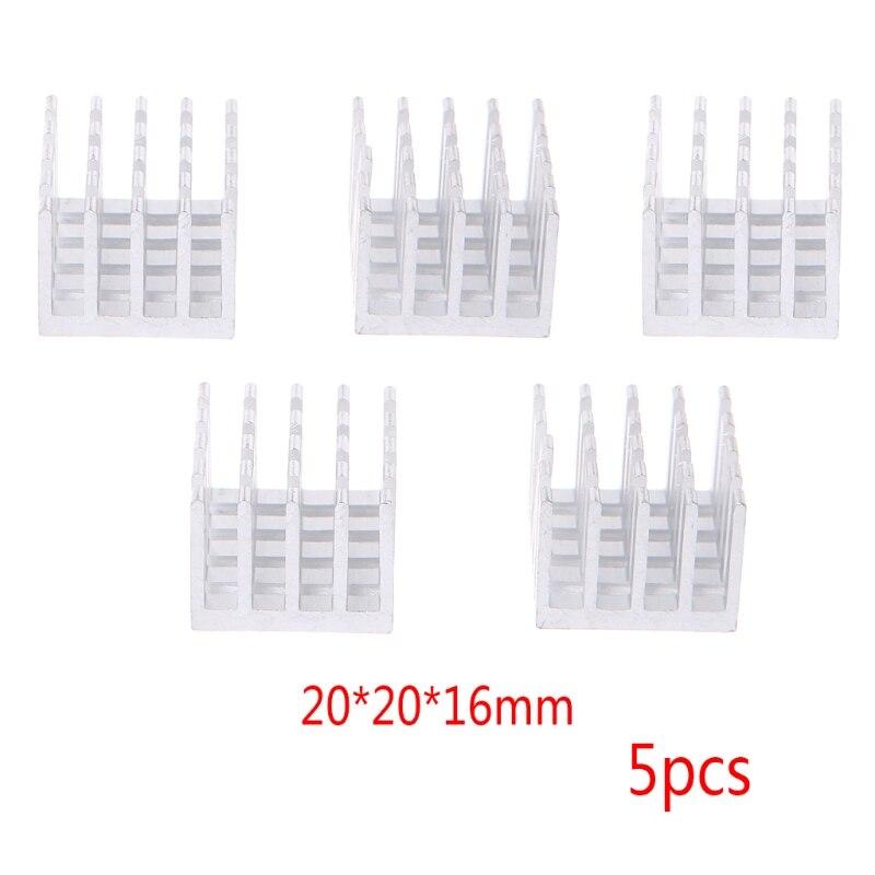 5 Pcs/Set 20*20*16mm Aluminum Heatsink Block Computer Electronic Chip Cooling Computer Accessories