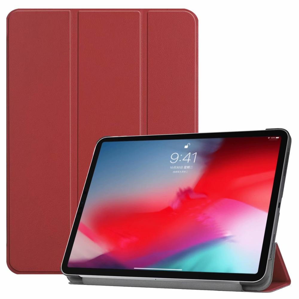 Wine red iPad Pro3 11 2018 smart case with different patterns