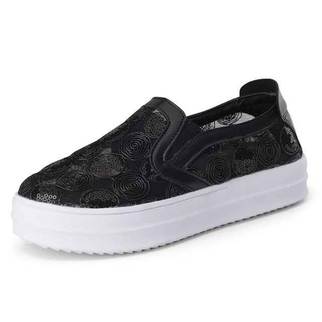 Hkl floral zapatos de lona de la venta caliente 2017 de moda apliques  slipony mujeres aumento c3942b6e8ae3