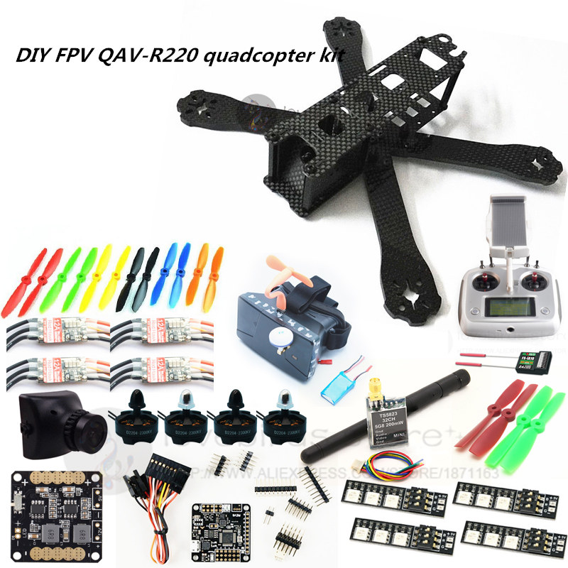 DIY FPV mini drone QAV-R220 220mm quadcopter kit D2204+Red Hawk BL12A ESC+ NAZE32 10DOF + 700TVL camera + Video goggles + FS-I6S f04305 sim900 gprs gsm development board kit quad band module for diy rc quadcopter drone fpv