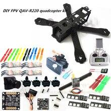 DIY FPV mini drone QAV-R220 220mm quadcopter kit D2204+Red Hawk BL12A ESC+ NAZE32 10DOF + 700TVL camera + Video goggles + FS-I6S